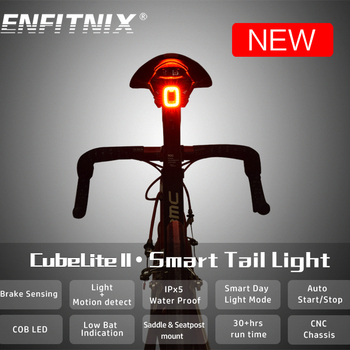 ENFITNIX Cubelite2 latarka rowerowa rower tylne inteligentne Taillight czujniki hamowania wodoodporne lampy dzienne LED siodło sztyca światło tanie i dobre opinie Baterii Rechargeable lithium battery Manual Auto USB micro Saddle and Seatpost Integration