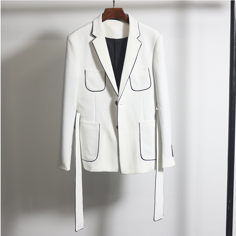 Black White Contrast Piping Blazer With Belt Slim Fit Blazer Hombre Business Casual Dress Wedding Groom New Korean Blazer Homme