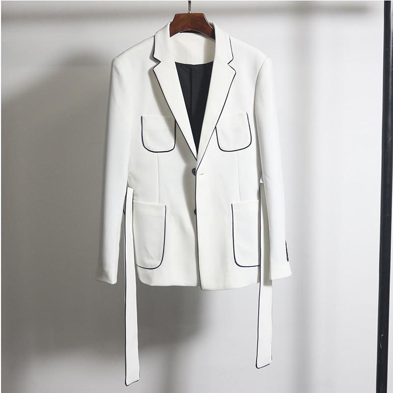 Black White Contrast Piping Blazer With Belt Slim Fit Blazer Hombre Business Casual Dress Wedding Groom New Korean Blazer Homme