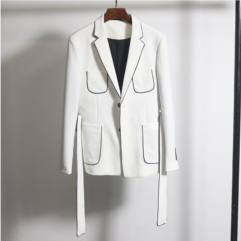 Preto branco contraste tubulação blazer com cinto fino ajuste blazer hombre negócio casual vestido de casamento do noivo novo coreano blazer homme