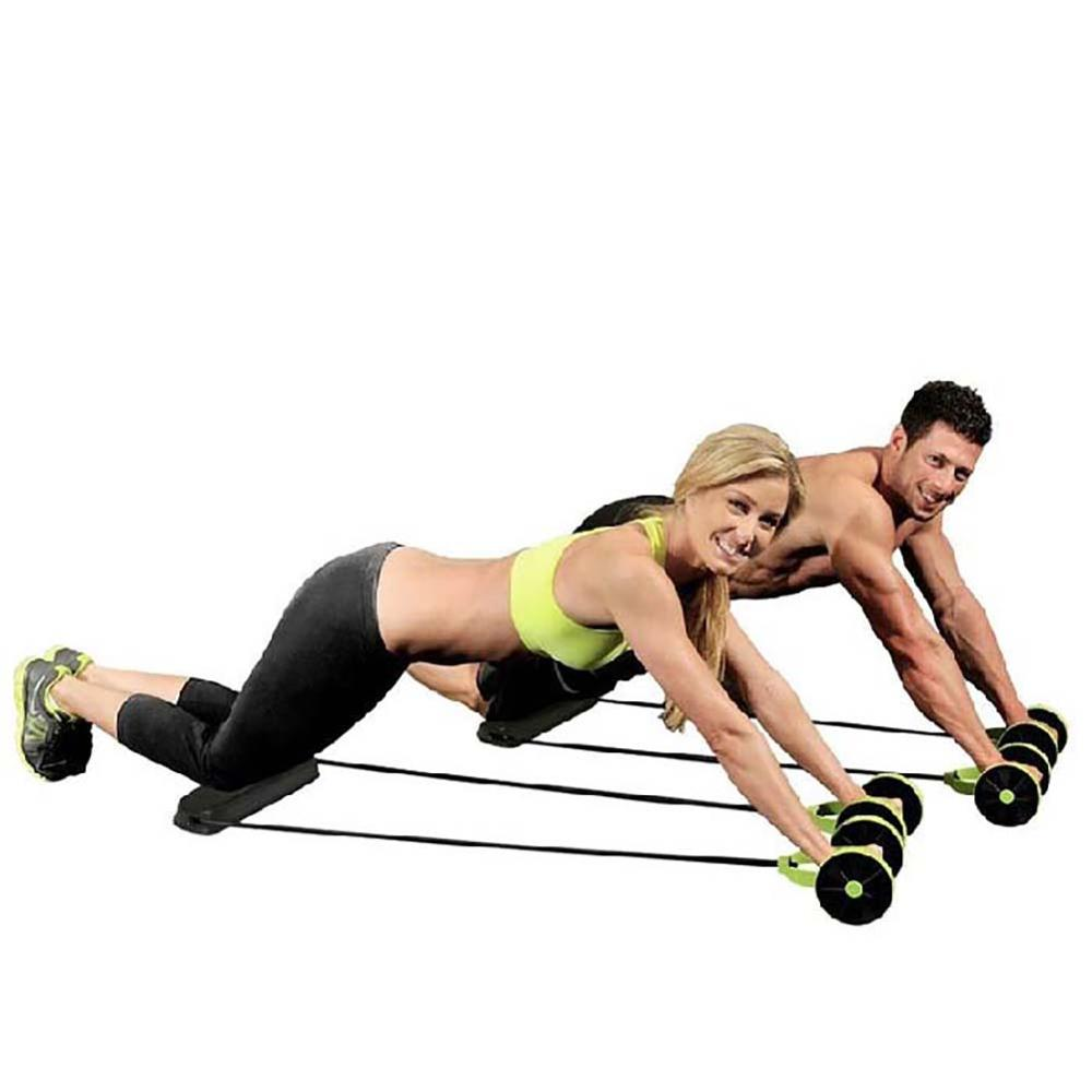 ABS Roller Wheel Pull Rope Waist Abdominal Slimming Fitness Equipment Body Building Exercise Bands Sport Part