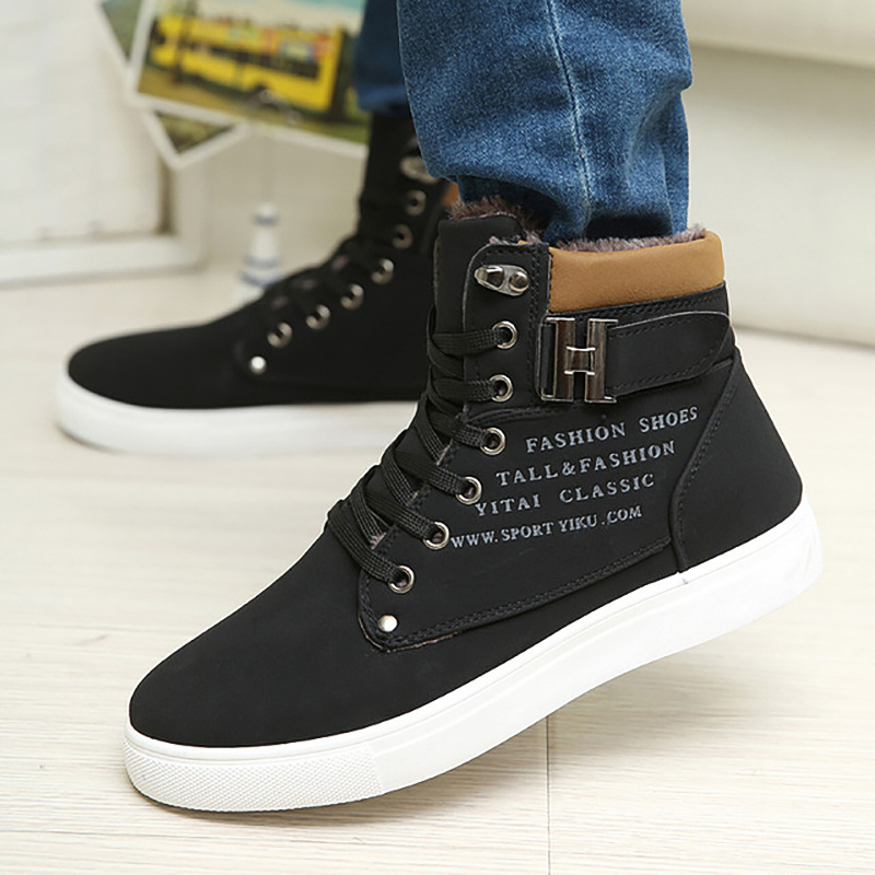 Brand Men Snow Boots Winter Plush Warm Men Ankle Boots Lace-Up Non-slip Male Casual Boots Waterproof Man Work Cotton Shoes 39-47