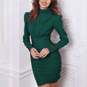Image 3 - Fanbety Nuovo Autunno Puff spalla a manica lunga delle donne del vestito A Collo Alto solido della cinghia mini vestito Della Signora torna zipper aderente vestiti da partito