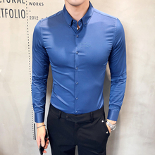 Hot Koop Solid Formele Slijtage Shirt Mannen Herfst Nieuwe Lange Mouwen Heren Dress Shirt Slim Fit Casual Sociale Shirts Mannelijke kleding 3XL M