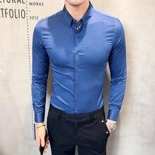 Offre spéciale Solide vêtements de cérémonie Chemise Hommes Automne Nouveau Manches Longues Hommes Robe Chemise Coupe Slim décontracté Sociale Chemises Vêtements Masculins 3XL M