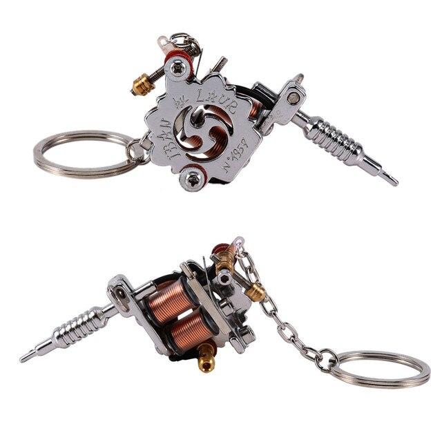 Porte clés Mini Machine à tatouer Portable, outils de tatouage, porte clé de Style Punk, ornement en pendentif, pour hommes et femmes, artisanat cadeau, 1 pièce