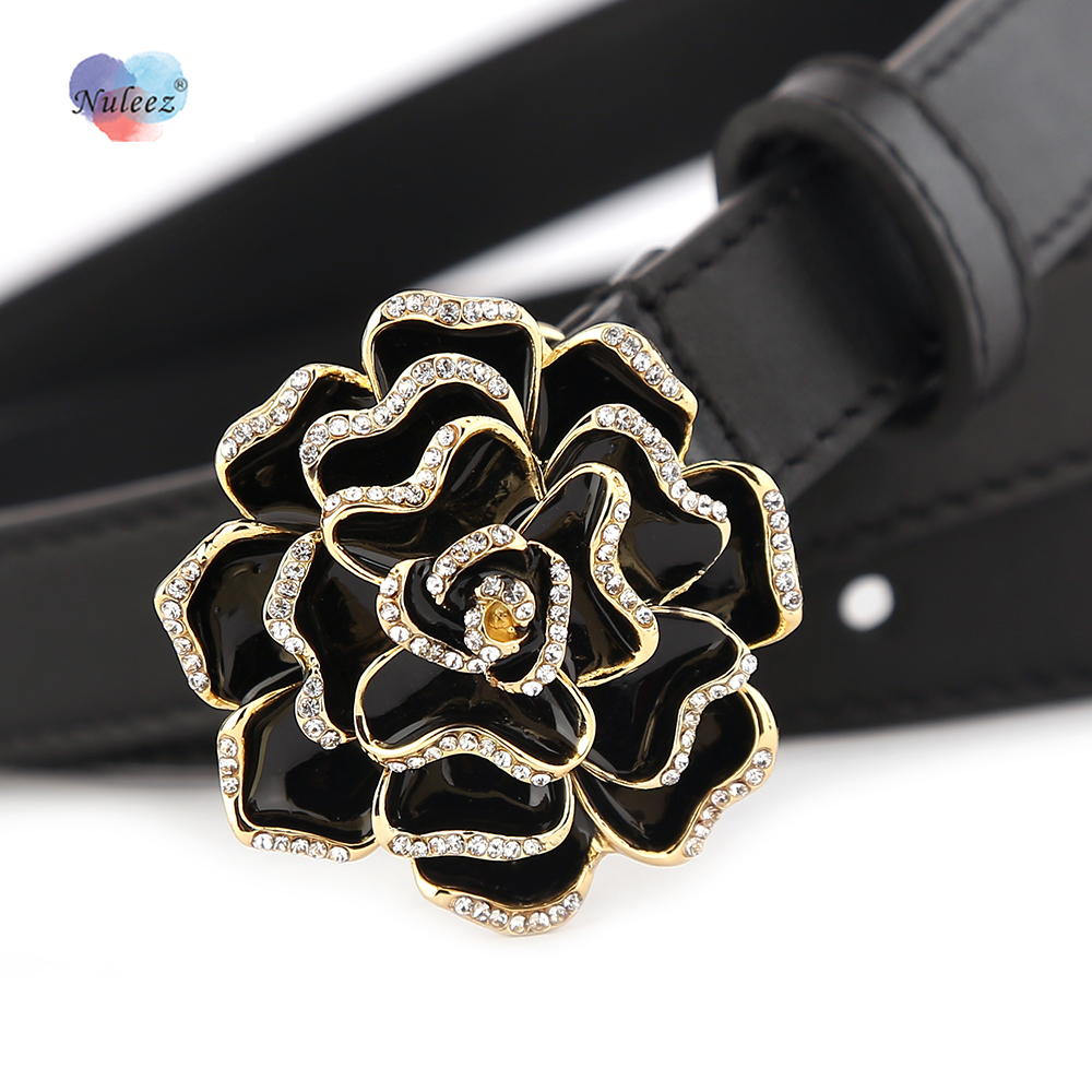 Nuleez belt women camellia flower delicate decoration for coat winter summer dress accessory gift for girlfriend real leather