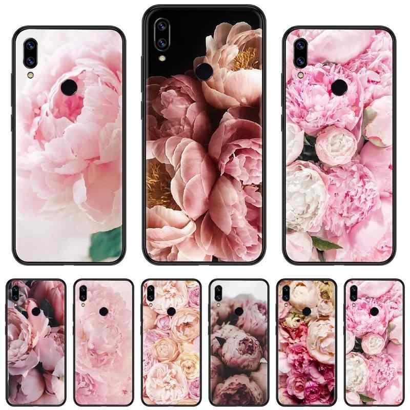 Çiçek, şakayık, pembe yumuşak silikon siyah xiaomi için telefon kılıfı Redmi not 4 4x5 6 7 8 pro S2 artı 6A PRO