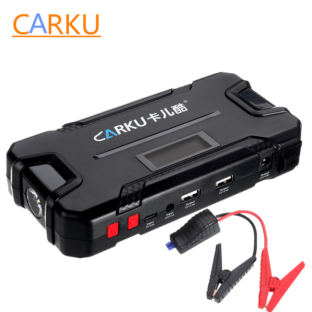 CARKU 12V 12000mAh Car Jump Starter Emergency Battery Booster 600A Portable Flashlight QC3.0 Dual USB Battery Charger Power Bank image