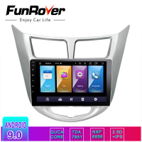 Funrover 2.5D+IPS Android9.0 2 din Car DVD multimedia GPS for Hyundai Solaris Verna Accent 2011 2016 radio tape recorder player
