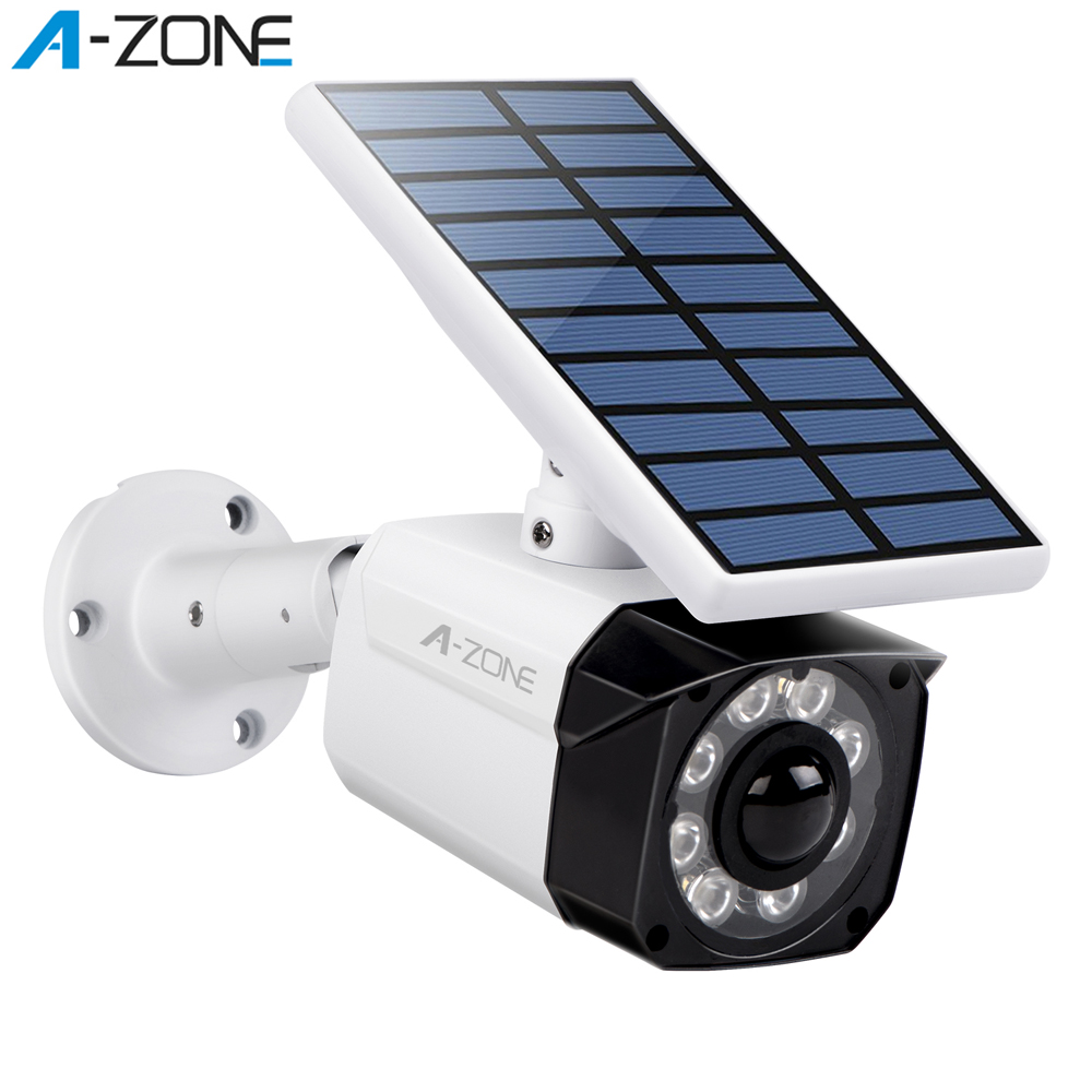 A-ZONE Solar LED Light Dummy CCTV Security Camera IP66 Waterproof Motion Sensor Outdoor False Bullet Surveillance Video Camera