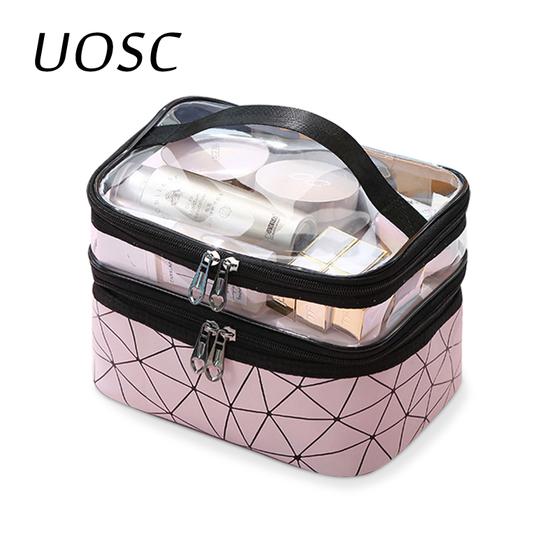 UOSC Women Double Layer Cosmetic Bag Make Up Organizer Bags Travel Waterproof Toiletry Storage Pouch Beautician Makeup Cases Box