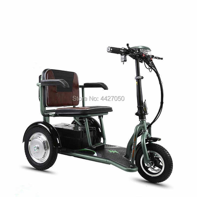 משלוח חינם רכבות מכירה לוהטת קל משקל מתקפל שלוש-גלגל חשמלי קטנוע כיסא גלגלים נכים