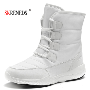 Image 1 - SKRENEDS damskie śniegowe buty zimowe buty ocieplane grube dno platformy wodoodporne botki dla kobiet grube futrzane bawełniane buty rozmiar