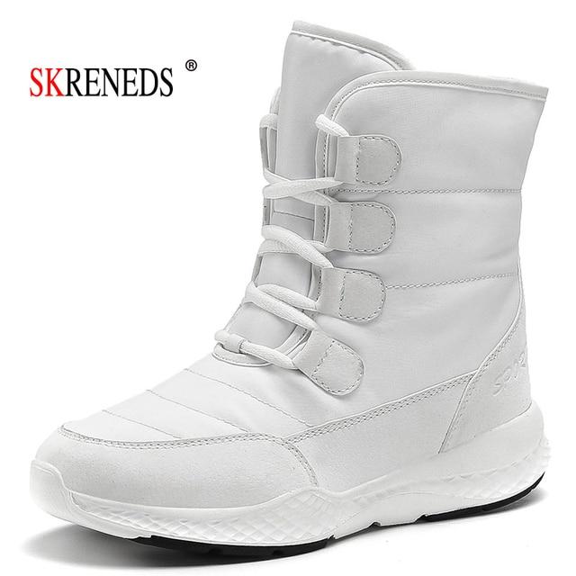 Skrevds النساء أحذية الثلوج الشتاء الأحذية الدافئة سميكة أسفل منصة مقاوم للماء حذاء من الجلد للنساء سميكة الفراء أحذية قطنية حجم