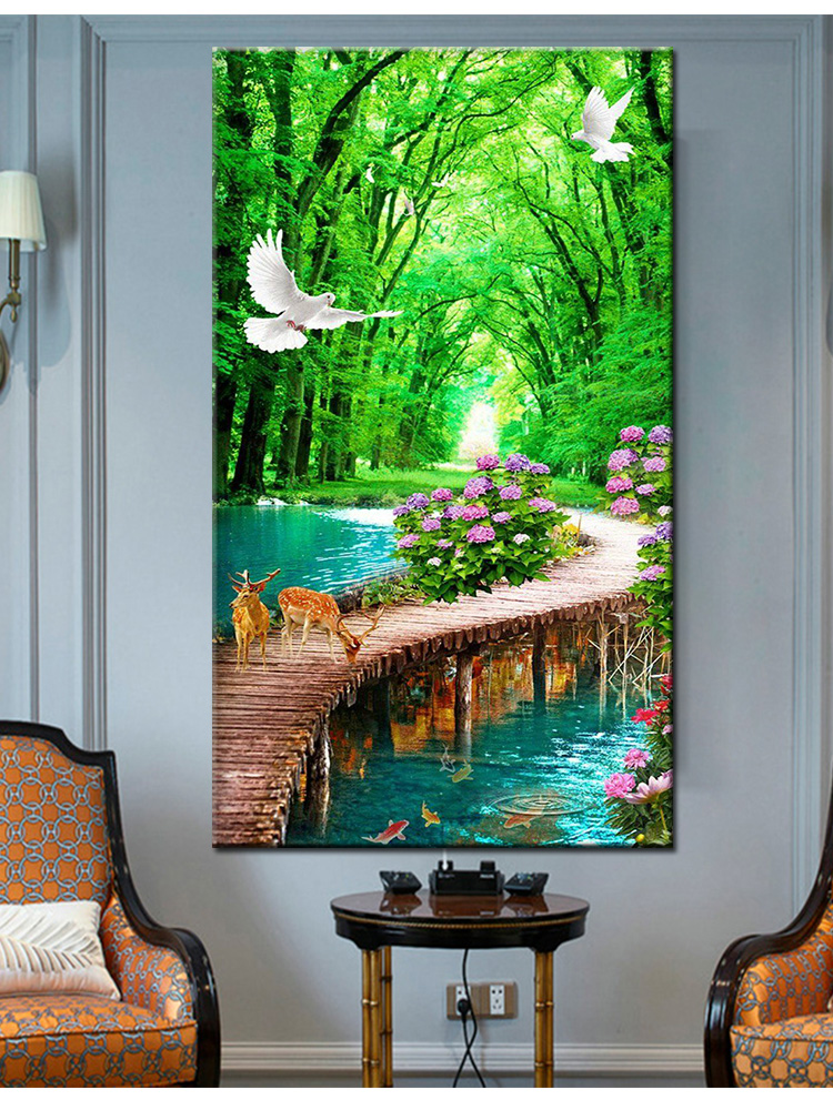 diy 5d large diamond mosaic Natural scenery diamond painting waterfall deer cross stitch 3d embroidery full round drill home art
