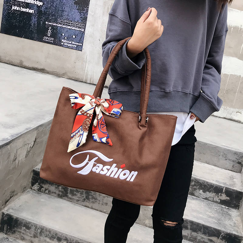 Leather Texture 2018 Autumn And Winter New Ladies Big Bag Handbag Shoulder Tote Korean Version Of Suede Bag Embroidery