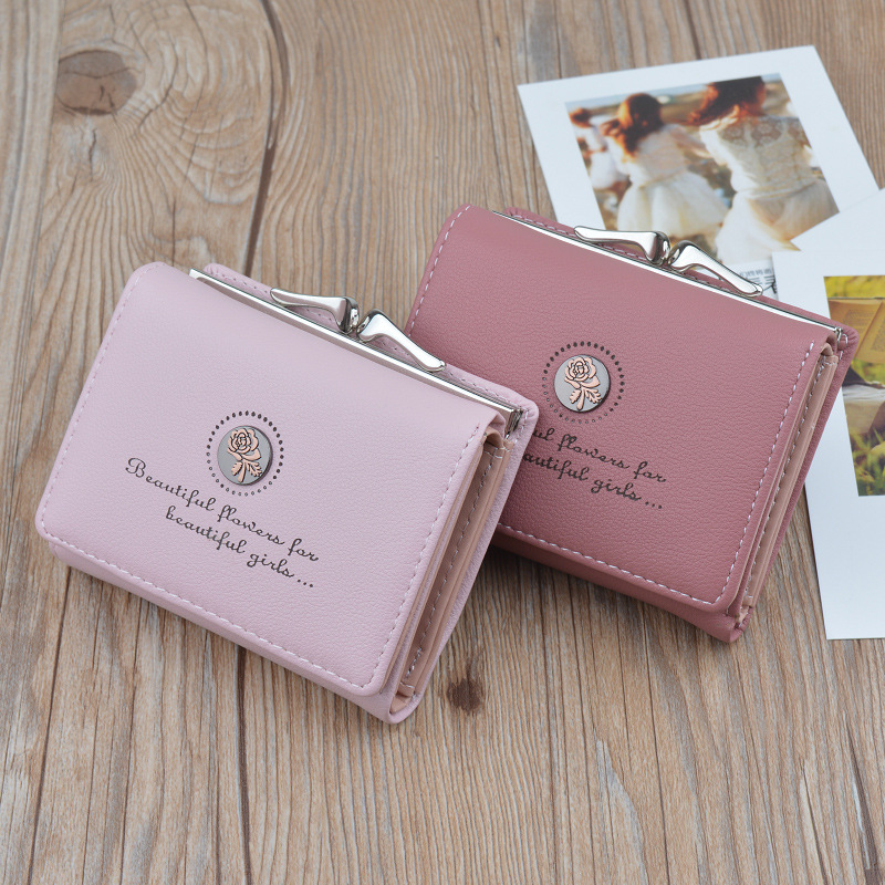 Vintage Women Wallet Lady Retro Flower Small Wallet Hasp Printing Floral Clutch Bag Buckle Purse Female Card Holder Coin Purse