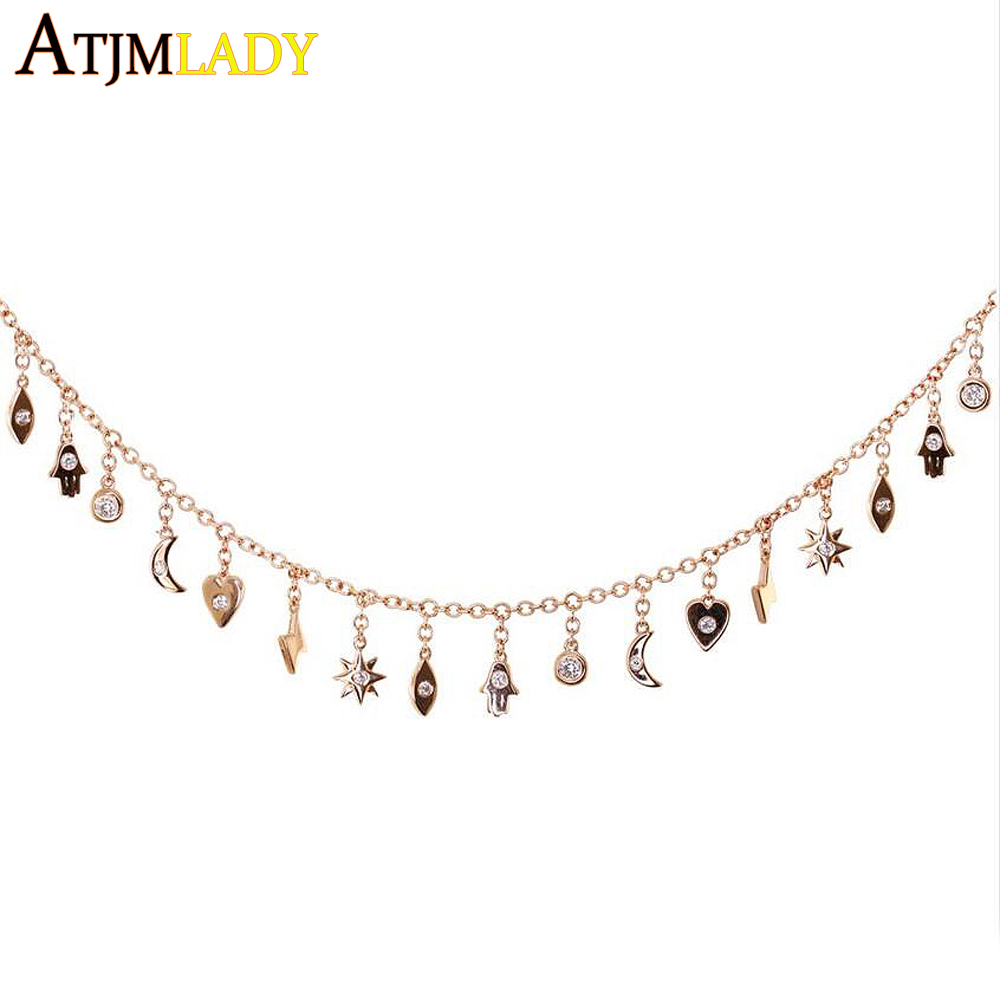 100% 925 Sterling Silver Sparkling Moon and Star Exquisite Pendant Necklaces heart eye drop charm chokers for Women Jewelry Gift