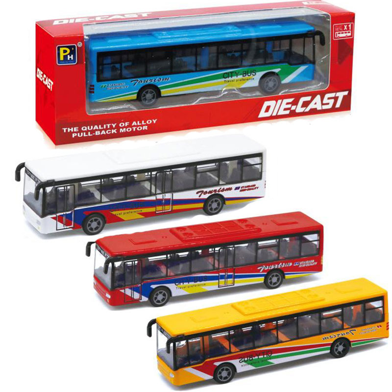 Real alloy tour bus toy model pull back car bus tram toy desk decoration adults child collection toys model free shipping(China)