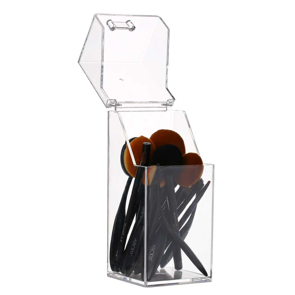New Clear Acrylic Makeup Brush Storage Box Storage Cosmetic Makeup Organizer Case Brushes Eyebrow Pencil Storage Holder with Lid|Makeup Organizers| |  - title=