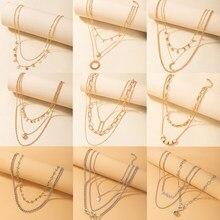 Tocona – collier Boho avec pendentif carte lune pour femmes, breloques multicouches, pompon papillon, chaîne géométrique, ras du cou, bijoux de fête