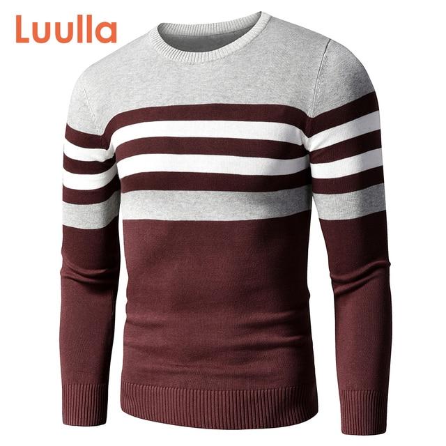Мужской хлопковый свитер в полоску 1