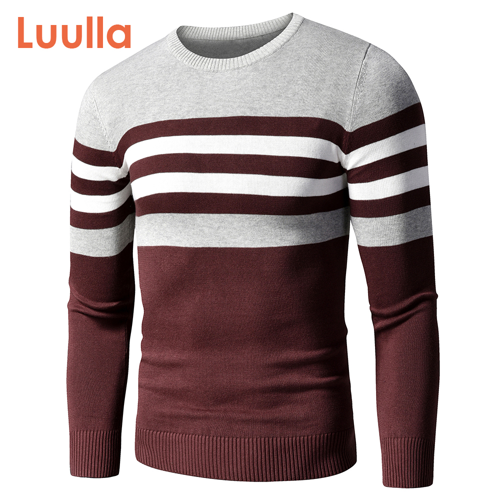 4XL Men 2020 Autumn New Casual Striped Thick Fleece Cotton Sweater Pullovers Men Outfit Fashion Vintage O-Neck Coat Sweater Men