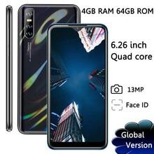 Teléfono Inteligente 9A con identificación facial pantalla grande de 6,26 pulgadas, pantalla IPS de 13MP, 4GB RAM, 64GB ROM, so Android, Quad Core