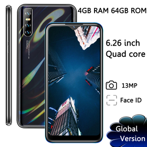 Face ID 9A Smartphones IPS 13MP 4GB RAM 64GB ROM Water Drop Big Screen 6.26'' Unlocked Android Quad Core Mobile Phones Celulares