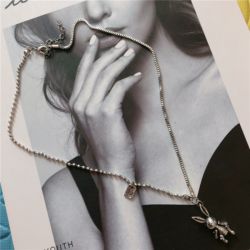 New Trendy Little Bunny Pendant Choker Necklace Punk Retro Silver Animal Pendants Chain Statement Necklace Jewelry in Pendant Necklaces from Jewelry Accessories
