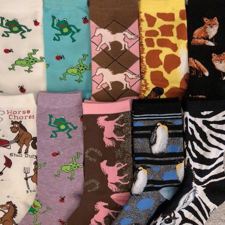 Freeshipping Crew Fashion Funny Animal Socks Lovely Frog Horse Zebra Pinto Penguin Fox Giraffe Diamond Zoo Wild Animals World
