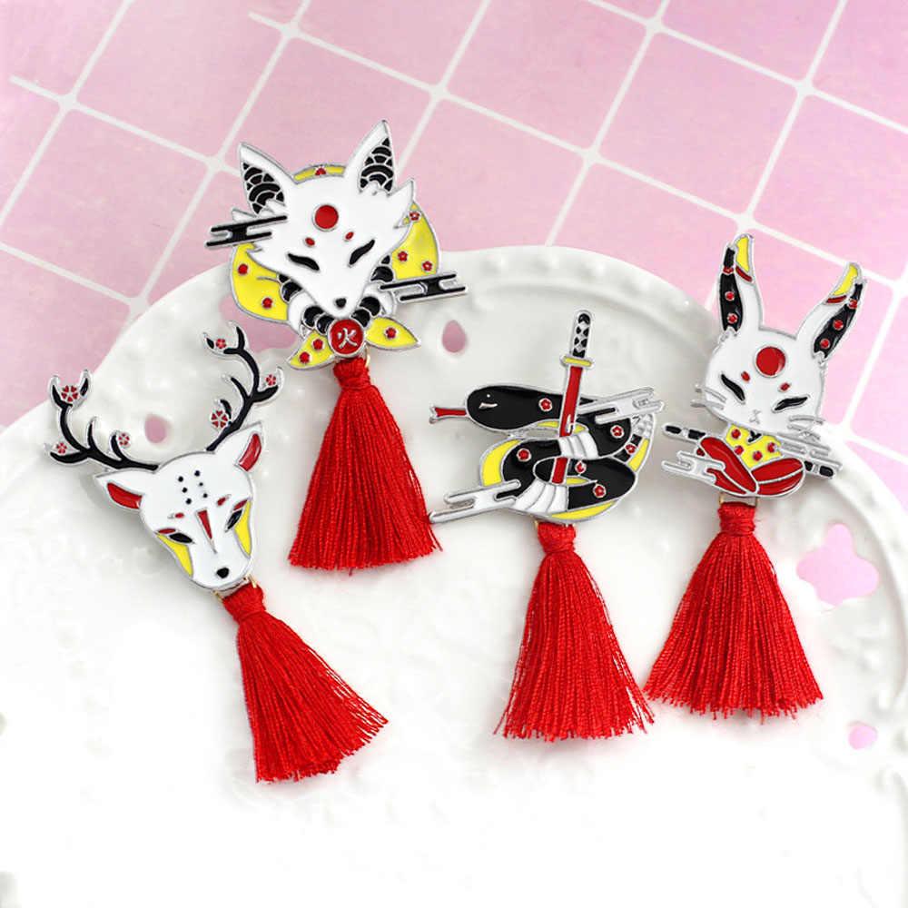 W stylu Vintage zwierząt frędzle ze stopu broszka japoński Ninja królik ogień lis wąż Kendo Sika Deer emalia Pin plecak odznaka przyjaciół prezenty