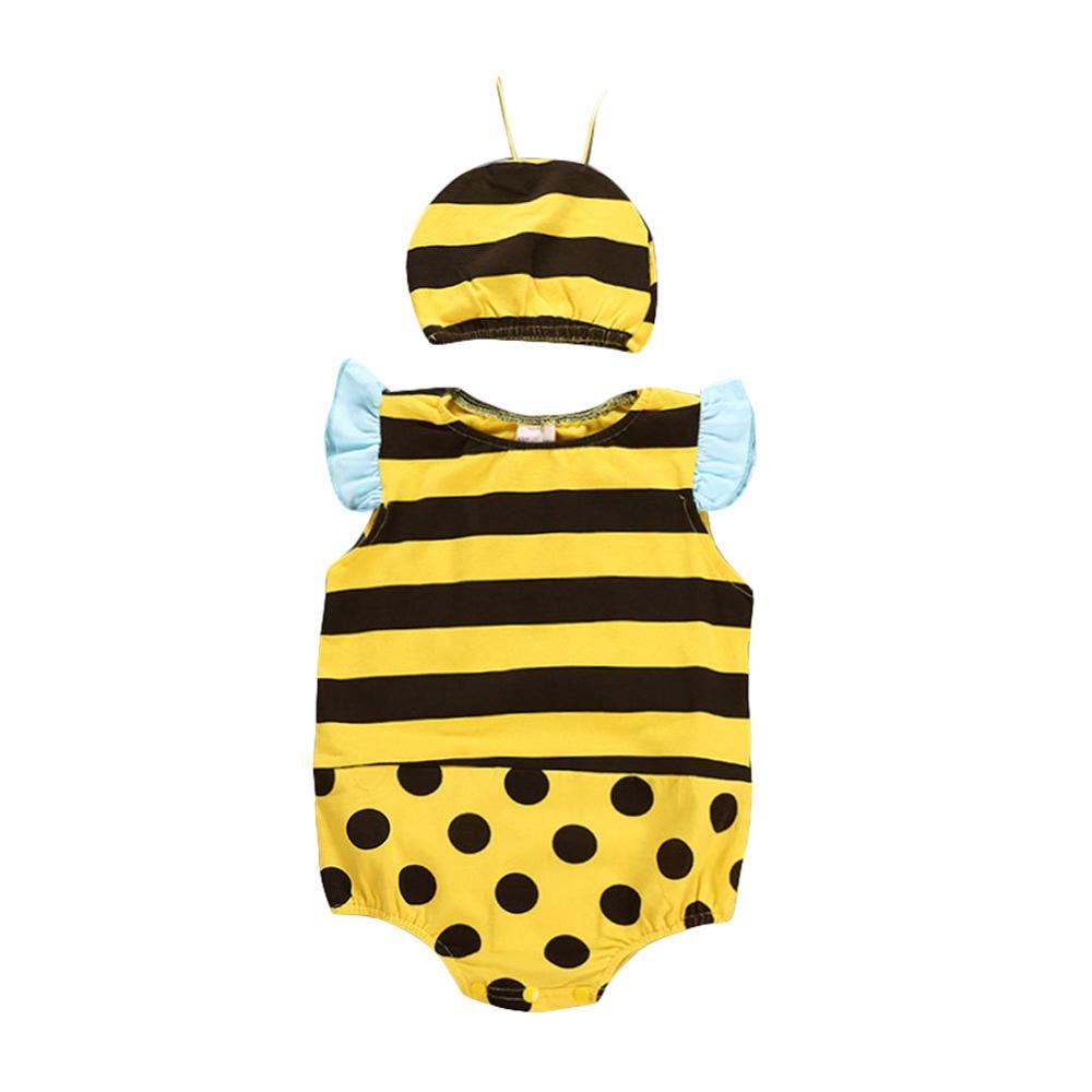 Unisex Infant Baby Sleeveless Triangle Romper Lovely Little Bee Costume Boys Girls Summer Ruffled Sleeve Animal Outfit with Hat