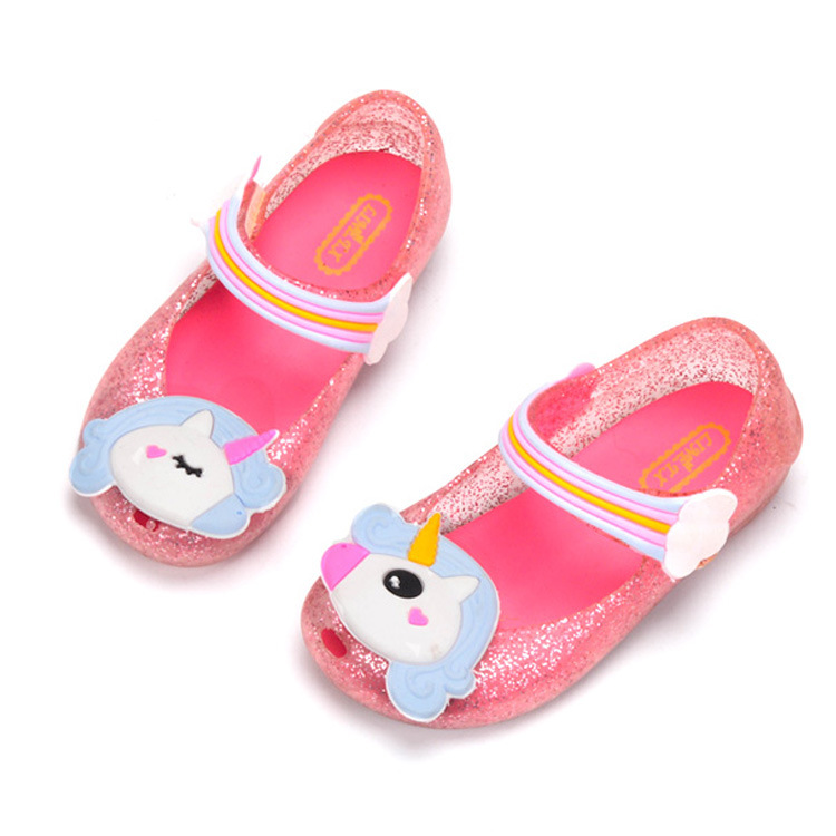 2020 Unicorn Jelly Sandal For Girls Pink Shoes Jelly Shoe Dargon Sandals Fish Mouth Girl Non-slip Kids Sandal Toddler 1-6 Years