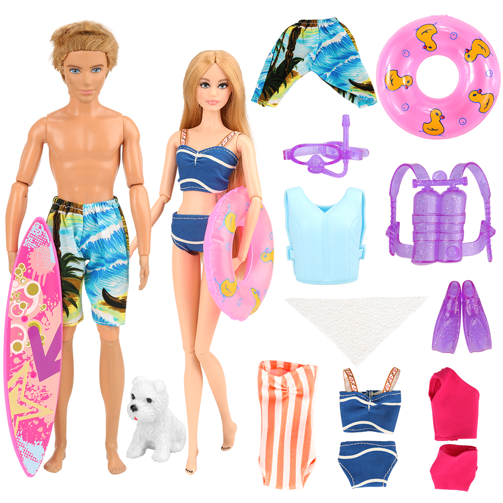 Newest Handmade Doll Accessories Summer Suit Kits Swim Wear Ken Clothes For Ken Barbie Doll Surfboard Toys Best Birthday Gift
