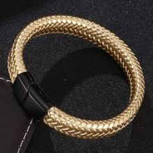 New Fashion Jewelry Golden Braided Leather Bracelet Men Gold/Black/Silver Stainless Steel Magnetic Clasp Male Wrist Band Bangles