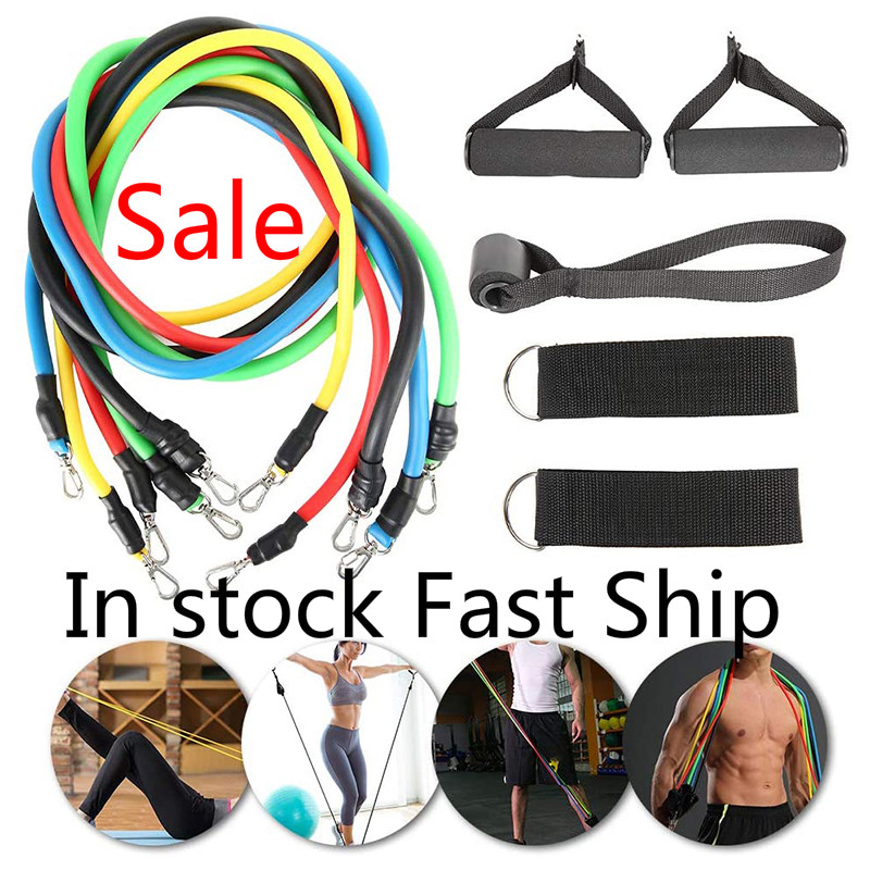 11 Pcs/Set Latex Resistance Bands FitnessTraining Exercise Yoga Tubes Pull Rope Rubber Expander Elastic Bands Yoga Fitness Tool