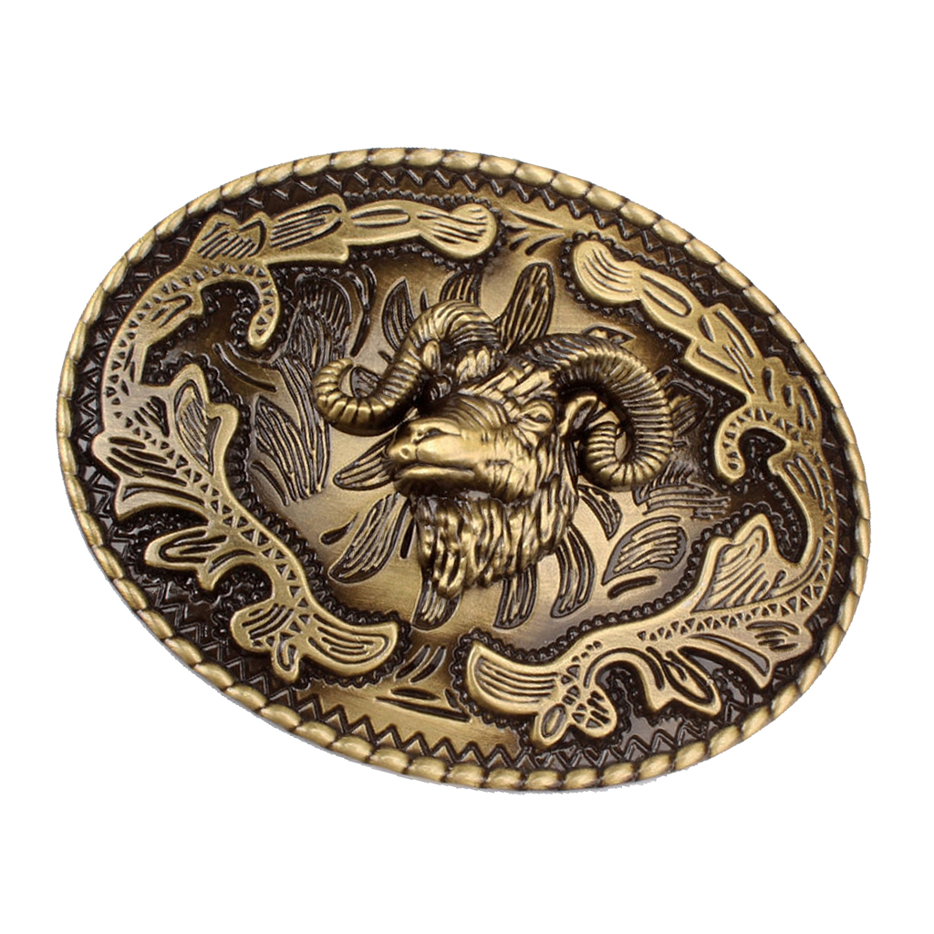 Western Cowboy Belt Buckle Zinc Alloy Goat Shape Cowgirl Casual Bronze