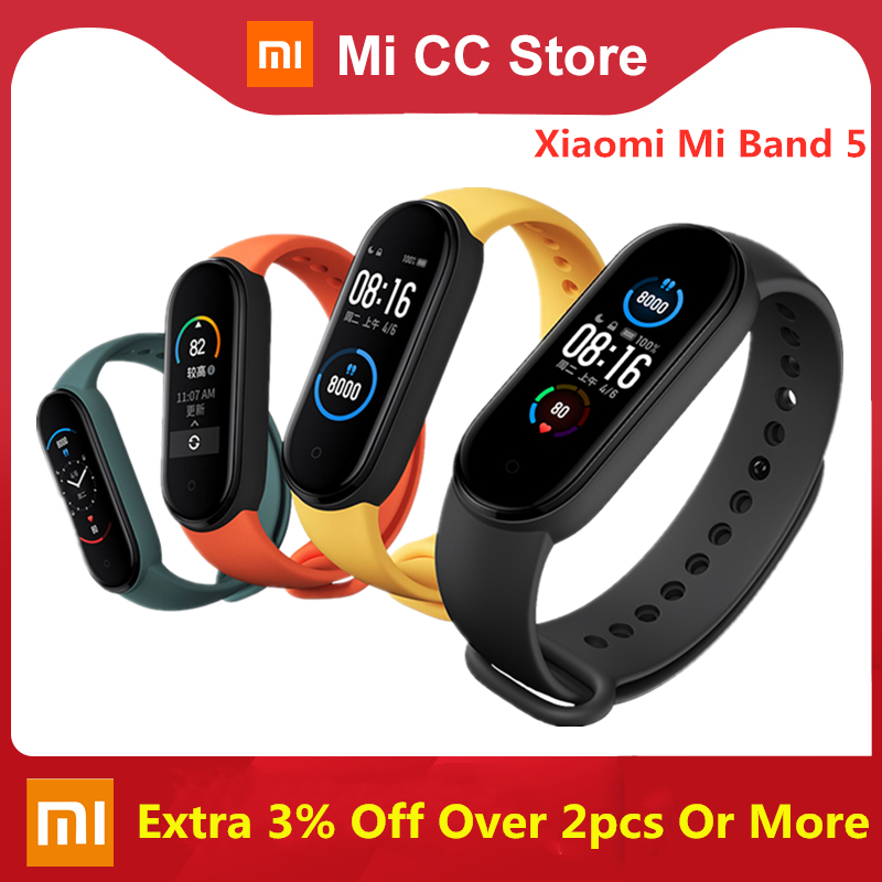 Xiaomi Mi Band 5 Bracelet Heart Rate monitor Fitness Tracker AMOLED Screen Miband 5 Smart band 4 color Straps