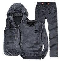 Black Tracksuit Men's 2019 Winter Fashion Men Sporting Suit Hoodie Vest+Pants +Sweatshirt Velvet 3 Piece Set Fitness Men Clothes