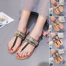 2020 Summer Women Clip T-type Strap Rhinestone Flat Shoes Low Sandals Beach Buckles Ladies Boho Style