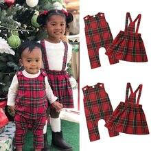 Рождественские одинаковые комплекты для семьи; Рождественская одежда для сестер; ремешок комбинезона; платье; клетчатая одежда для маленьких девочек
