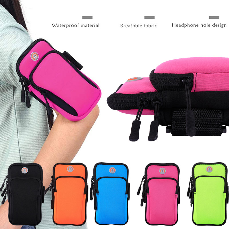 Wrist Wrap Phone Case Bag Pockets Mountaineering Nylon Workout Gym Arm Package Run Riding Arm Band Running