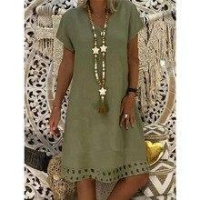 Plus Size Cotton Linen Loose Dress Women Casual V-Neck Elegant Party Summer