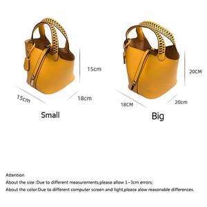 Image 4 - 女性の織バケットバッグバスケットメッセンジャーショルダーミニ巾着クロスボディトートバッグ高品質puレザー複合ハンドバッグ