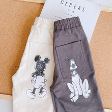 Disney Children's Cartoon Jeans Trousers Autumn New Boys Girls Mickey Print Toddler Clothes