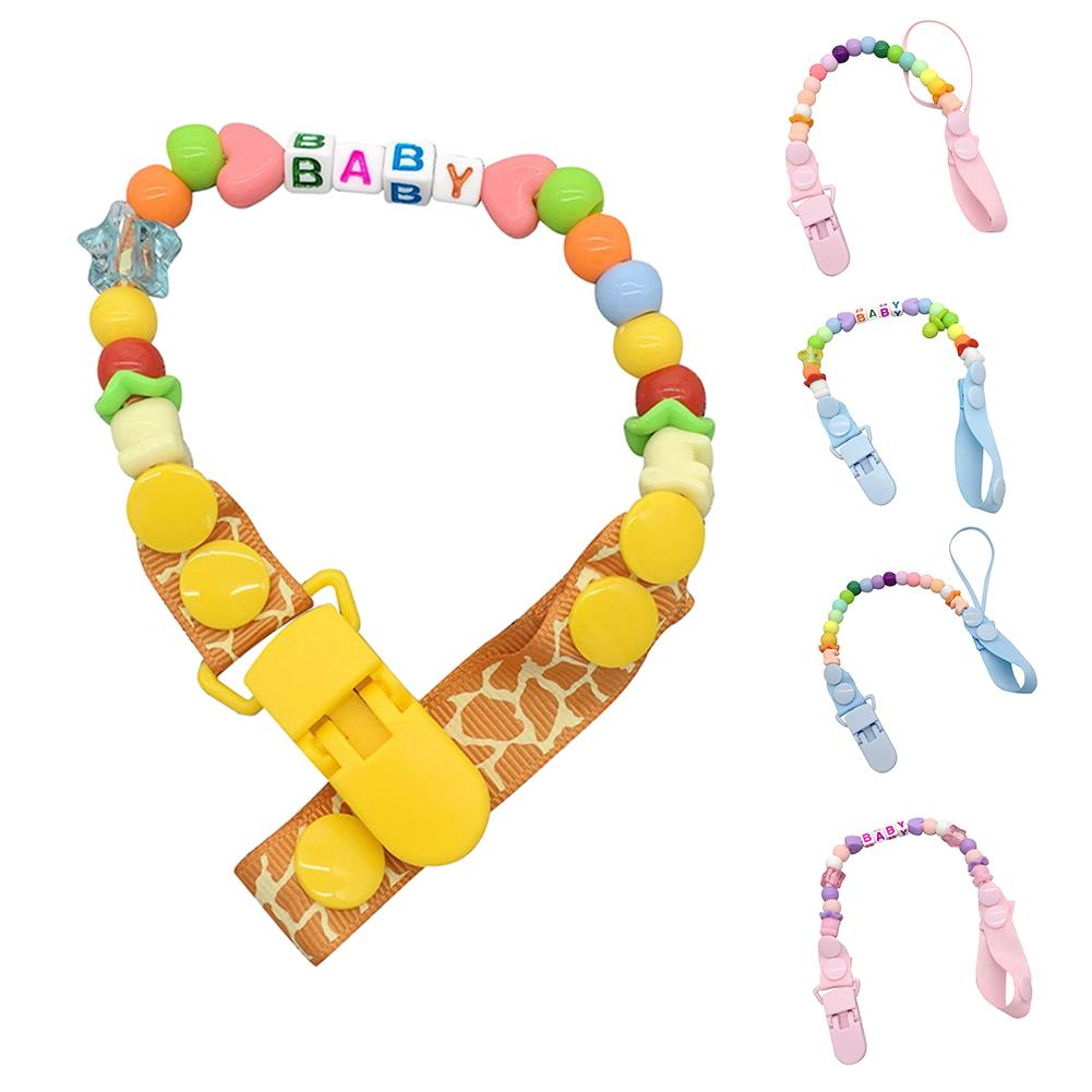 Baby Anti-Fall Pacifier Clip Chain Personalized Hand Made Colorful Beads Cute Baby Soother Beaded Nipple Holder For Infant