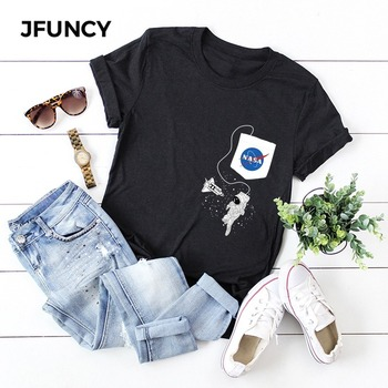 JFUNCY Women Summer T Shirt Oversize Female T-shirts Short Sleeve Cotton Woman Tshirt Fashion Print Lady Tees Tops jfuncy cute avocado cat print oversize women loose tee tops 100% cotton summer t shirt woman shirts fashion kawaii mujer tshirt