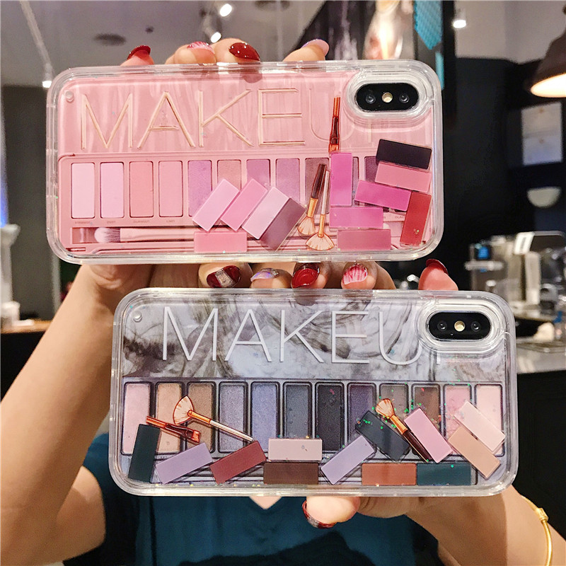 Makeup Eyeshadow Palette Liquid Phone Case for Iphone 11 Pro Max X Xr Xsmax 6s 7 8plus Glitter Quicksand Clear Tpu Case Cover|Fitted Cases|   - AliExpress